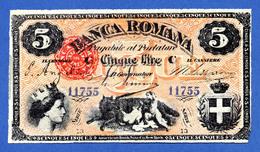 Italy - Papal States / Stato Pontificio 5 Lire 1872 R4 Banca Romana II Periodo Pick S794 Sup~Fds - Altri