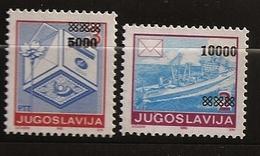 Croatie Serbie Krajina 1993 N° 8 / 9 ** Yougoslavie, Surchargés, Référendum, Bateau, Fleur, Pâquerette Timbre Sur Timbre - Croazia