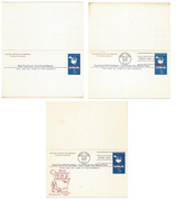 UY19 Paid Reply Postal Cards 7C Map 1963 Lot Of 3 Unused FDC Cachet Folded Unsevered