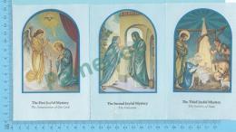 16 Images - 15 Images Des Mystères Du Rosaire + Explanation In English At Back , 15 X 10.4 Cm  Holy Cards - 11 Scans - Imágenes Religiosas