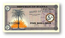 BIAFRA - 5 Shillings ND ( 1967 ) Pick 1 Serie A/O - UNC - ( Nigeria ) Africa - Banknotes