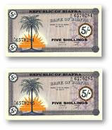 BIAFRA - 2 Consecutive X 5 Shillings ND ( 1967 ) Pick 1 Serie A/O - UNC - ( Nigeria ) Africa - Banknotes