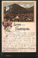 Lithographie Friedrichroda, Teilansicht Der Ortschaft - Friedrichroda