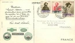 SAINT MARIN - COORRESPONDANCE ENVOI VERS FRANCE - BEAUX CACHETS SUR TROIS TIMBRES - 1949 - RARE CP DU ROC DE SAINT MARIN - Saint-Marin
