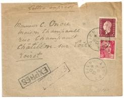 Peu Commun Ainsi, EXPRESS GIEN Loiret. Bel Affranchissement DULAC / GANDON. - Postmark Collection (Covers)
