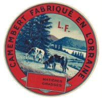 """Ancienne étiquette Fromage Camembert Fabriqué En Lorraine  """"LF"""" Variante En Vente Thème Animaux """" Vaches"""" - Formaggio"""