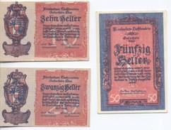 Liechtenstein Set =3 Notes 10,20,50 Heler (1920 Year) UNC - Liechtenstein
