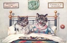 """OILETTE - ILLUSTRATEUR - ELLAM - CHATS HABILLES HUMANISES -  BELLE CPA - """"DEJEUNER AU LIT"""" - N° 9321. - Katten"""