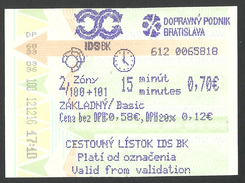Slovakia., Bratislava, Bus Ticket, Used. - Europa