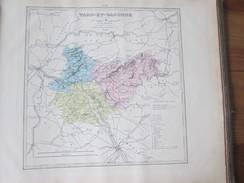 Carte Géographique 1880  Departement Du TARN ET GARONNE    Montauban Castelsarrasin Auvillar, Valence D'Agen Castelsarra - Landkarten