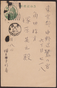Imperial Japan 1955 Post Postal Stationery History Mail Classics Used Prepaid Postcard With Palace Green Definitive - Covers & Documents