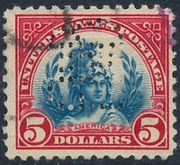 Stamp Us  1922-25  $5  Capitol Perfin Used  Lot18 - Used Stamps