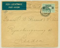Nederlands Indië - 1936 - 42,5 Opdruk Op 75 Cent LP-zegel Van Djokjakarta Naar Leiden / Nederland - Nederlands-Indië