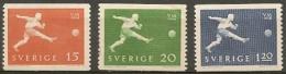Sweden 1958. Soccer World Champion Ship.  Michel 438A, 439A, 440A MNH.