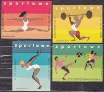POLAND 1967 Matchbox Label - Cat.G#192a/95a Set, Sports: Gymnast, Weightlifter, Swimmer, Players. - Boites D'allumettes - Etiquettes