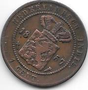 *netherlands East India 1 Cent 1857  Km 307.2  Fr+ - Indes Néerlandaises