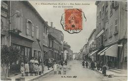 Saone Et Loire : Chauffailles,  Rue St Antoine, Rue Du Commerce, Belle Carte Animée - France