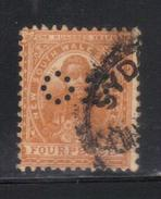 Y216 - NEW SOUTH WALES , 4 Pence Punctured Perfin OS Usato - 1850-1906 New South Wales