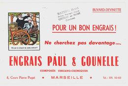 Buvard Engrais Paul & Gounelle, Marseille / Tampon Mathieu Henri, Coustellet Par Maubec (Vaucluse) - Agriculture