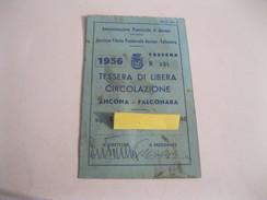 ANCONA-FALCONARA Tessera Di Libera Circolazione FILOVIA-provinciale TESSERA Con Marca Da Bollo Del 1956 - Tram