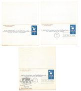 UY20 Paid Reply Postal Cards 8C Map 1967 Lot Of 3 Unused FDC Cachet Folded Unsevered