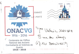 Timbre Office National Des Anciens Combattants Et Victimes De Guerre Sur Lettre Assortie - France