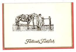 """Carte Double De Voeux,"""" Felices Fiestas """", Argentina Illustrée """" Gaucho Y Caballo """" , Rouge Et Or , TB - Otros"""