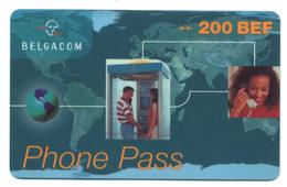 Belgique, Belgacom, Telecard 200 BEF, Thème, Téléphones, Cabine - Telefoni