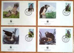 Guyana: Set Of 4 FDC First Day Cover, 1990, Bird, Eagle, WWF Logo (traces Of Use) - Guyana (1966-...)
