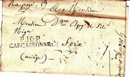 10 AUDE - 10 CARCASSONNE Marque Linéaire PP - 1827 - Marcophilie (Lettres)