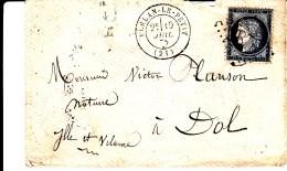 21 COTES DU NORD - PLELAN-LE-PETIT - 1875 - Marcofilia (sobres)