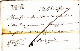 22 CREUSE - P.22.P. AHUN - 1814 - Marcofilia (sobres)