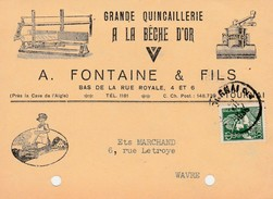 Tournai ,carte  Publicité ,A.Fontaine Et Fils ,grande Quincaillerie A La Bêche D'Or - Doornik