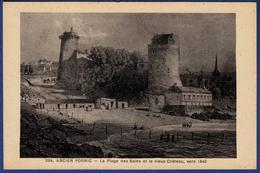 44 PORNIC Ancien, La Plage Des Bains Et Le Vieux Château Vers 1840 - Pornic