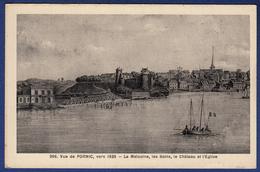 44 PORNIC Vue Vers 1835, La Malouine, Les Bains, Le Château Et L'église - Pornic