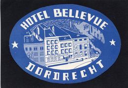 VIEILLE ETIQUETTE  PAYS BAS HOTEL BELLEVUE DORDRECHT VINTAGE LUGGAGE LABEL - Etiquettes D'hotels
