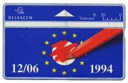 Belgique, Belgacom, Telecard 20, Thème, Europe, Communauté Européenne, Drapeau - Schede Telefoniche