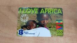 Israel-i Love Arfica-(2)-(31.10.11)-(500units)-(bezeq International-used Card - Central African Republic