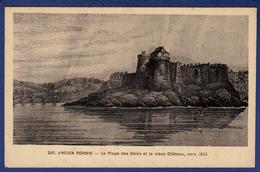 44 PORNIC Ancien, La Plage Des Bains Et Le Vieux Château Vers 1825 - Pornic