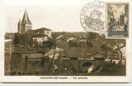 DEP 87 ORADOUR SUR GLANE CARTE AVEC LE TIMBRE ET CACHET COMMEMORATIF 13 OCTOBRE 1945 VUE GENERALE AVANT LE DRAME - Oradour Sur Glane