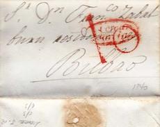 Año 1841 Prefilatelia Carta De Cuevas Marcas Nº 5 Lorca Murcia Y Porteo 10 - Spain