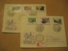 PEACOCK PEACOCKS PAON PAVO REAL Yvert 2250/5 Budapest 1972 2 FDC Cancel Cover HUNGARY