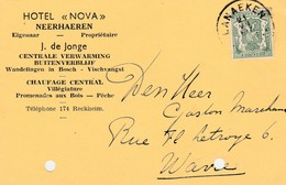 """Neerhaeren,Neerharen ,carte Publicité ,Hotel """"Nova"""" ,J.de Jonge ,pêche,vischvangst - Lanaken"""