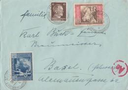DR Brief Mif Minr.787,820,822 Stuttgart 18.1.43 Gel. In Schweiz Zensur - Briefe U. Dokumente