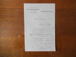 HAUBOURDIN LEZ LILLE ECOLE SUPERIEURE PROFESSIONNELLE ET PANSIONNAT COURRIER L'ECONOME M.VANDENBROUCK DU 12/10/1912 - Historische Dokumente