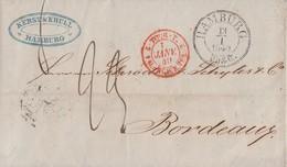 Brief Nachv. T&T Stempel K2 Hamburg 13.1.1849 Gel. Nach Frankreich Ansehen !!!!!!!!!!!! - Deutschland