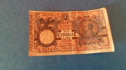 BILLET D'ETAT De 5 Lires Royaume D'Italie 1904 - [ 1] …-1946 : Kingdom