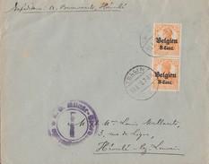 Dt. Besetzun Belgien Brief Mef Minr.2x 13 Tellin 10.8.18 Zensur - Besetzungen 1914-18