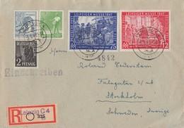 Gemeina. R-Brief Mif Minr.943,946,947,965,966 Leipzig 8.6.48 Gel. Nach Schweden - Gemeinschaftsausgaben