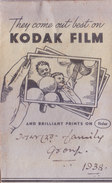 BRITISH INDIA - 1938 - ENVELOPE OF PHOTO STUDIO - ADVERTISEMENT OF KODAK FILM - PHOTOGRAPHY THEME - Photography